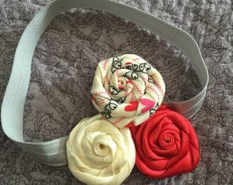 Little Girl Red Rosette Elastic Headband