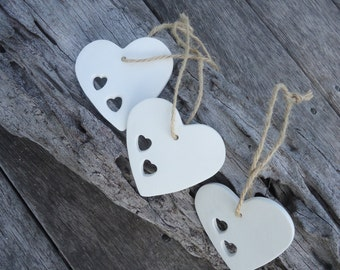 Clay Heart Ornament with 2 little Hearts or 1 Heart - Set of 3