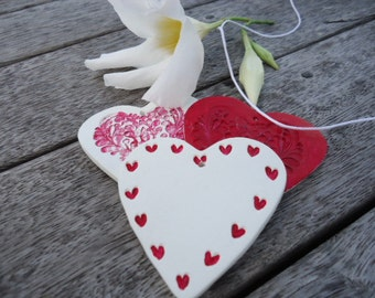 Clay Hearts - Set of 3