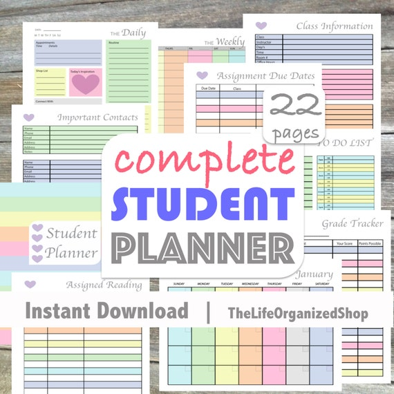 Student Planner College Student Planner High School Student