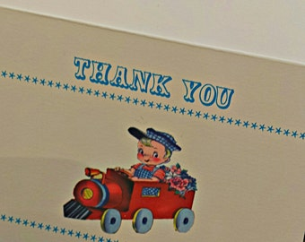 Personalized Thank You Card -- Custom Thank You Card -- Retro Thank You Card -- Train Birthday Celebration