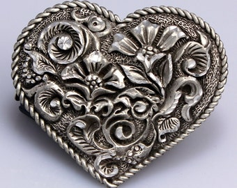 Heart Shaped Pewter Belt Buckle with Floral Engraving