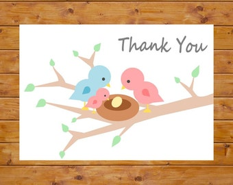 Bird Thank You Card - Baby Sprinkle Thank You Card - Bird Nest, Big Sister, Foldable, Digital File, Printable, Instant Download