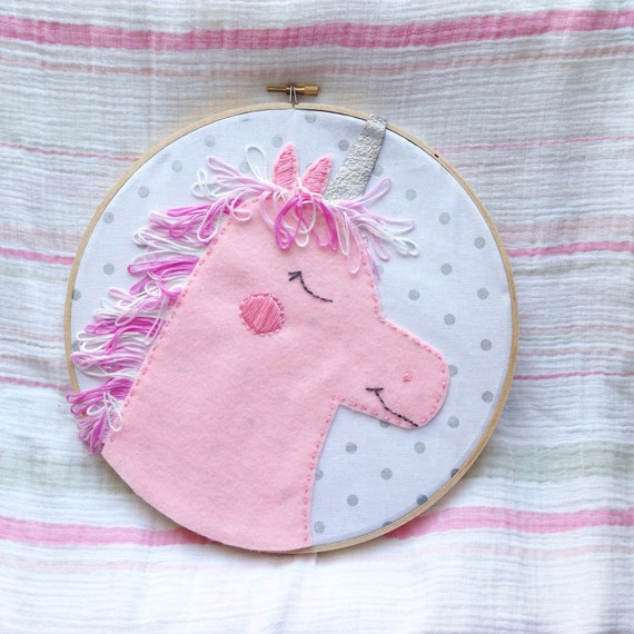 Pink unicorn embroidery hoop felt wall hanging by oliveandfox