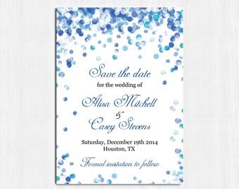 Blue Save the date, Blue Confetti wedding, Printable Digital file, save the date, blue save the date card, Confetti invitation, royal blue