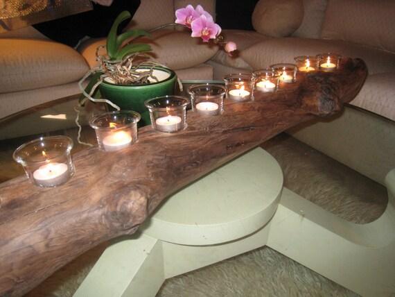 Driftwood candle holder beach decor driftwood centerpiece for Driftwood table centerpieces