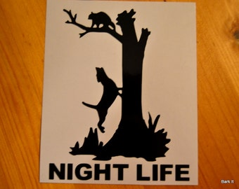 "Outdoor Vinyl Coon Hunting ""Night Life"" Decal"