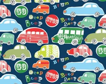 Fun Car Cotton Fabric. Quilting Fabric, 100% Cotton - Fat Quarter