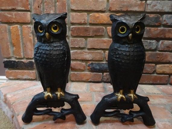 Set Of Owl Andirons Cast Iron Owl Andirons Andirons
