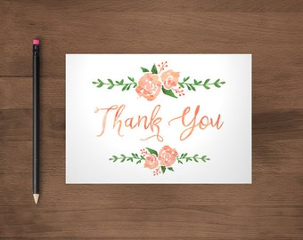 Floral Thank You Cards Printable, Watercolor Card, Printable Digital file, Coral and Purple