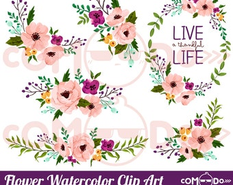 Pink Flower Watercolor Clipart /  Floral Digital Clip Art & Illustration for Commercial and Personal Use / INSTANT DOWNLOAD