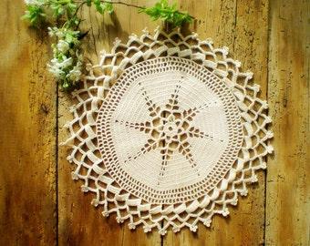 Vintage Round Crochet Lace Doily , Cotton Tablecloth , Home Decoration , Antique Lace Doily Elegant Crochet Table Decoration