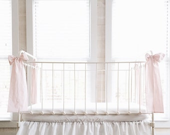 100% Washed Cotton Baby Pink Large Crib Bows