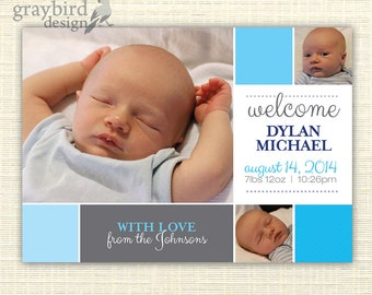 Baby Boy/Girl Birth Announcement - Customizable - Printable Photo Card - 5x7 - Pink/Blue/Gray