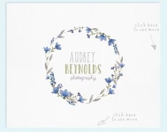 Wreath Logo Design / Premade Logo / Watercolor Logo / Photography Logo / Wedding Logo / Business Logo / Photography Watermark