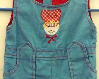 Antique-Vintage<WW-Deco-1930s>RR Adorned-1P=Rare Boys-Baby-Childs Clothing=Mint-ooak-Pocketed-Coveralls-Overalls-Jumper-Gift/Heirloom/Museum