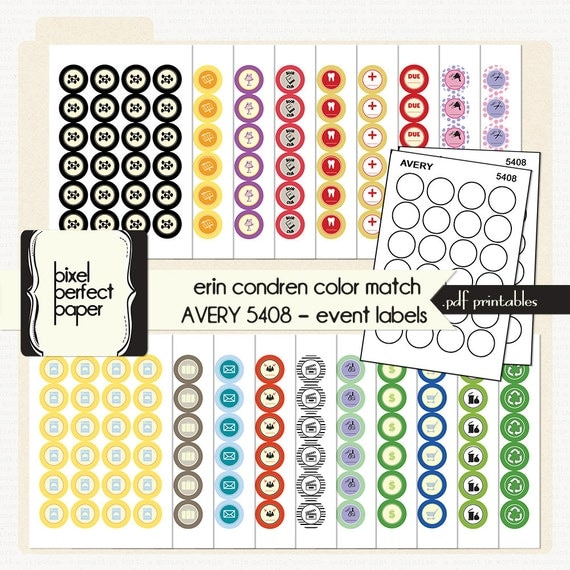 Erin condren planner pdf printable color by pixelperfectpaper for Avery 5408 template