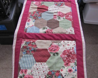 Handmade Raspberry and Country Patchwork Table Runner