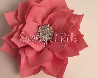 """Pink Flower, Poinsettia Flower, 3"""" Lotus Flower, Headband Flower, Headband Supplies, Scrapbooking Supplies"""