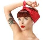50s Fifties Pin Up Rock Rockabilly Red Dolly bow Headscarf Bandana Headband