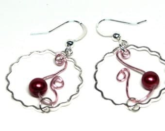 Maroon Bead Curly Wire Hoop Earrings