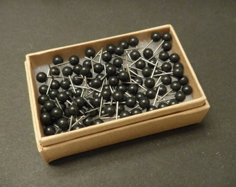 Map Push Pins Black Round Heads Pack of 100