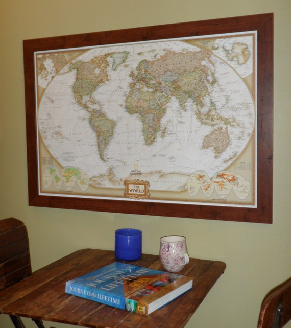 World Earth-toned Push Pin Travel Map with by ...
