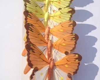 6 Yellow Orange Butterflies Scrapbooking Craft Embellishments Cake Topper