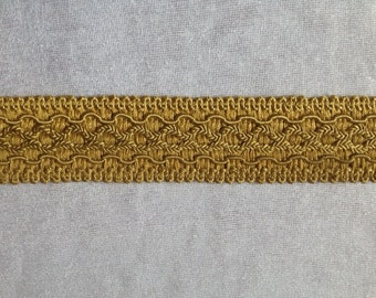 Vintage Trimming Gold 1.25 Inches 2.18 Yards Curtains, Sewing Supply, Pillows Antique French