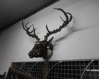 Scrap metal Life size Stags head sculpture. SOLD!! but ready for new comissions