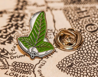 LOTR Leaf of Lorien Pin Badge - Middle Earth, The Hobbit, J. R. R. Tolkien