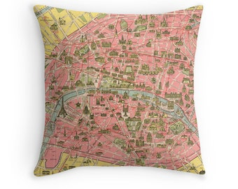 Paris Map Pillow Cover, Travel, Wanderlust, Pink, Vintage Map, France, Eiffel Tower, Bedroom Decor, Seine, Paris Home Decor, Throw Pillow