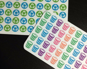 Trash can and recycle stickers - set of 50 and 45 - for your EC planner