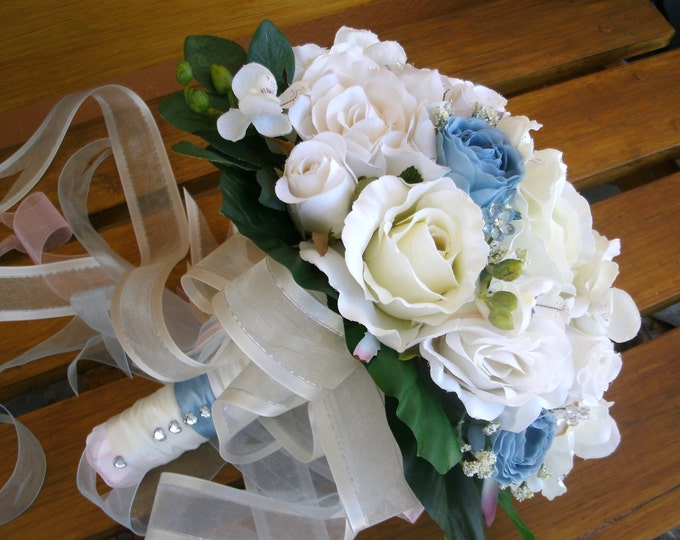 White orchids and roses bridal bouquet flowers 2 pieces