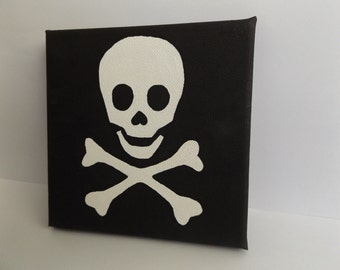 Skull & Crossbones Canvas, Wall Art, Pirate, Hand Painted