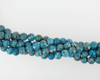 Blue fossil beads 6mm, Gemstone beads, DIY loose beads, Full strand 16 inches
