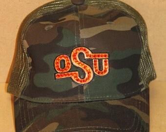 Oklahoma State University OSU Cowboys Camo trucker BLING baseball hat