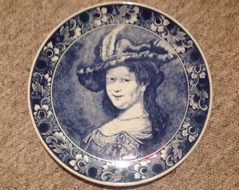 Delft charger / platter / wall platter by Chemkefa of Rembrandt's masterpiece of his wife, entitled 'Bust of Saskia Smiling'