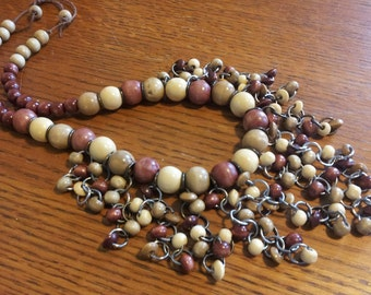 Wooden beaded boho style necklace