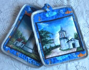 Quilted, Heat-Resistant Lighthouse Potholder/Mini-Placemat Set