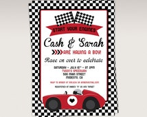 red racing car baby shower party printable invitation race car baby