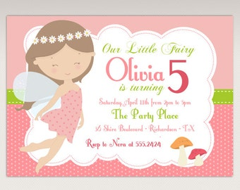 Little Fairy Birthday Party Printable Invitation Hair Color Choice #416