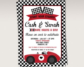 Vintage Red Racing Car  Baby Shower Party printable invitation - Race Car Baby Shower Invitations #302