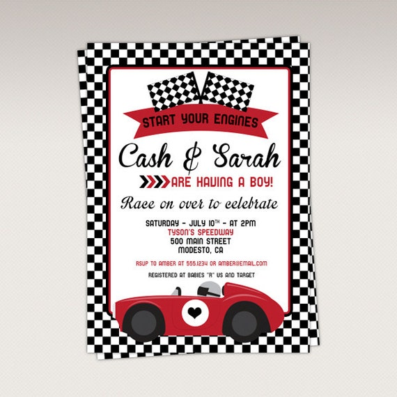 Vintage Red Racing Car Baby Shower Party Printable Invitation