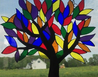 Custom Made Stained Glass Tree