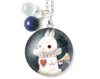 Alice in Wonderland necklace & Natural beads