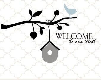 SVG welcome nest leafy tree branch birdhouse digital clipart