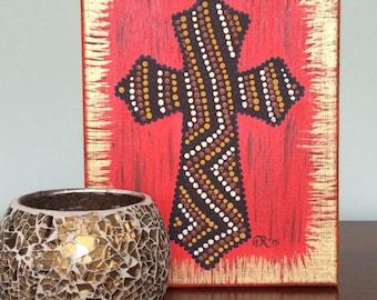 "Acrylic on canvas, 8"" x 10"" unframed, Cross in Red"