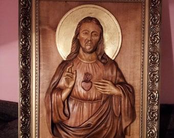Wood carving.Christian Religious Icon  Jesus Christ.Sculpture sur bois
