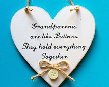 Grandparents are like Buttons They hold everything together! Shabby Chic Heart Grandma Sign, Grandparents Gift 10cm More wording choices